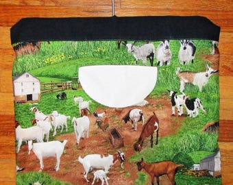 Goats Farm Scene Lined Heavy Clothespin Bag; Custom & Ready-to-ship; mom gift; wedding; Mothers Day; Stays on the line