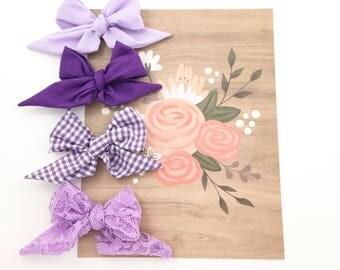 Sailor bows, headbands, hair clips, purple