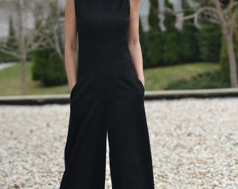 Black Cold Wool Drop Crotch Jumpsuit, Party Extravagant Loose Jumpsuit, Extravagant Back by Astraea-5004