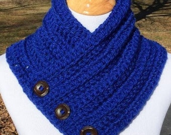 Crochet Cowl, Crochet Blue Cowl, Bulky Scarf with Buttons, Neck Warmer, Gift For Her, Royal Blue, Handmade, Mother's Day Gift, FREE SHIPPING