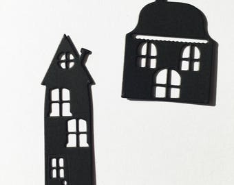 Set of ten die cut houses ir cottages gret for scrapbooks cardmaking or toppers