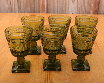6 Green Park Lane Pattern Indiana Glass Company Small Goblets Wine Water