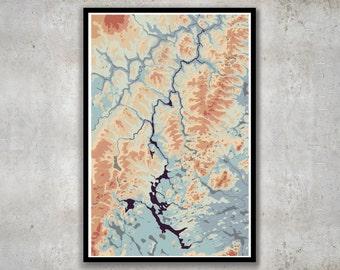 Allagash River Map, Allagash Maine Elevation Print