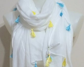 Scarf with Tassels  White Tassels scarf  Soft Cotton Elegant spring scarf Spring Fashion Cotton scrf Women fashion Accessories Gift for Mom