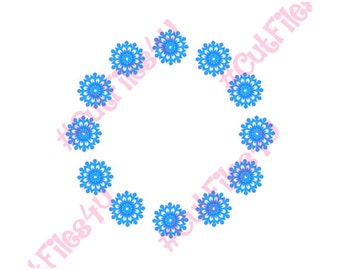 Monogram Frame SVG Snowflake: SVG and PNG digital cut file design included for Silhouette, Cricut using vinyl, paint, glass etching