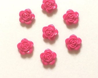 10 Pink Flower Cabochons ~ Pink Flower Embellishments ~ Pink Flower Flat Backs ~ Jewellery Making ~ Card Making ~ Scrapbooking
