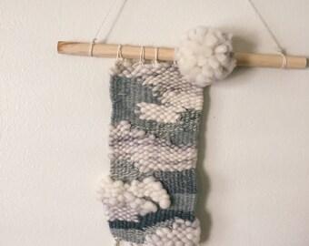 Handwoven Tapestry Weaving—Gray Skies