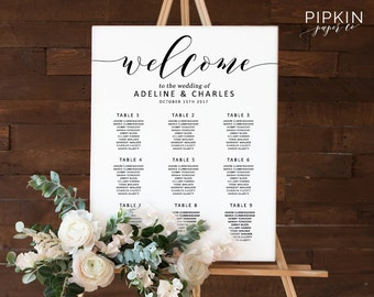 Seating Chart Template | Seating Plan | Wedding Seating Chart | Table Plan | Instant Download | Wedding Seating Chart Poster Template