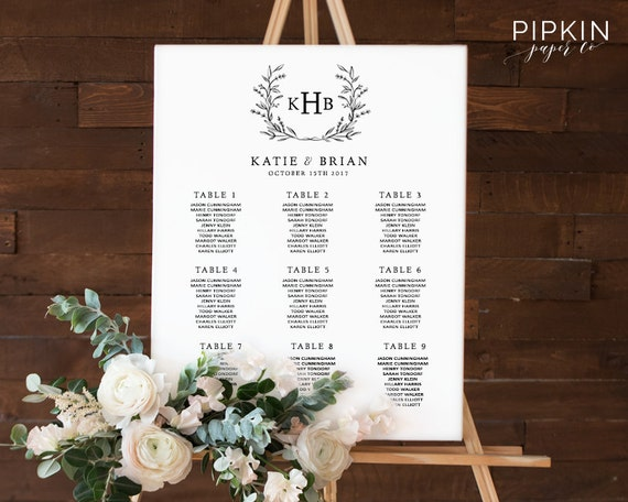 Wedding Seating Chart | Table Plan | Instant Download | Seating Chart  Template | Seating Plan | Wedding Seating Chart Poster Template