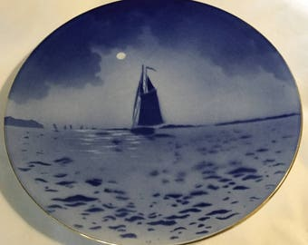 Antique Blue and White Sailboat on Moonlit Sea Hanging Plate France