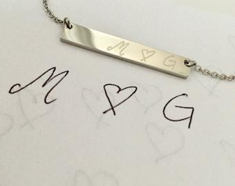 Actual Handwriting Bar Necklace, Custom Signature Necklace, Name Necklace, Gold, Rose Gold or silver Necklace