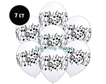 """Music Notes Balloons 11"""" Latex [7ct] Dance Party Rock 'n Roll Band Talent Show Decorations Décor Supplies Centerpiece Backdrop Photo Prop"""