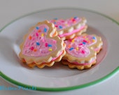 Tea party / Doll Food /  3 Frosted Sandwich Cookies with Sprinkles