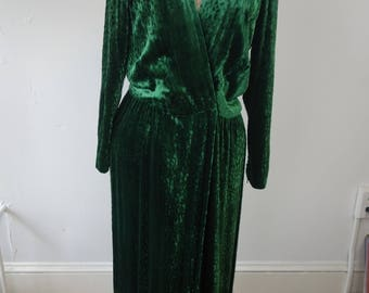 Vintage 80's Givenchy gown emerald green cut velvet leopard pattern read below