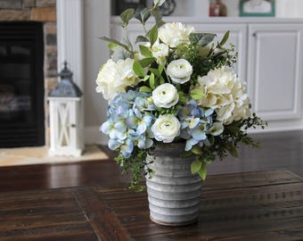 Farmhouse Rustic Decor, Silk Floral Arrangement, Table Centerpiece, Hydrangea Arrangement in a Galvanized Pail
