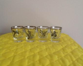 Federal Glass Sportsman Gamebird Shot Glasses Set of 4
