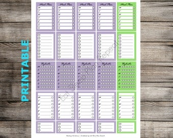 PRINTABLE Purple and Green Stacking Side Boxes for MAMBI Happy Planner Functional Full Box Half Box Checklist Stackable