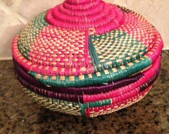 Hand made straw basket from Ethiopia.