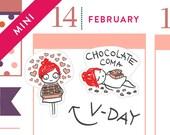 Valentine's Day planner stickers, Chocolate stickers, love, candy, hearts, planner stickers, Erin Condren, february, 28 stickers, MINI