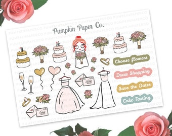 P241 - Wedding planner stickers, wedding dress shopping, save the date, wedding announcements, happy planner, 27 stickers