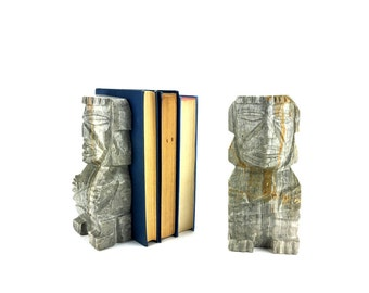 Onyx Bookends - Vintage || Carved Aztec Bookends | Rock Bookends | Agate Bookends | Aztec Statue | Mexican Bookends | Decorative Statues
