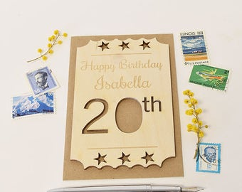 Personalised 30th birthday 1987 motif card 30th birthday personalised 20th birthday wooden card keepsake 20th birthday ticket personalised 20th birthday card alternative bookmarktalkfo Choice Image