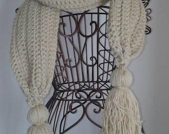 Winter White Tassel Scarf