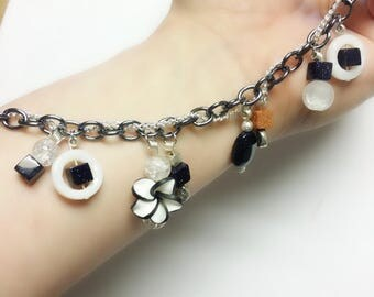 Double Chain bracelet with a garden touch