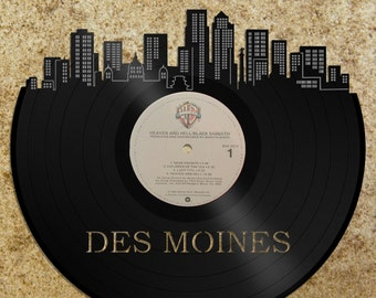 Wall Art Skyline - Des Moines Wall Art Skyline, Wall Art Cityscape, Wall Home Decor, Wall Art Gift Idea, Wedding Gift Idea, Vinyl Wall Art
