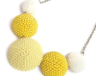 Crochet Necklace-Bead Necklace-pendant chabochon-chabochon Necklace-Bead crochet Necklace SuiTe-necklace-yellow neckl