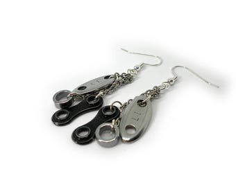 Cyclist Jewelry Upcycled Shimano Chain Dangle Earrings / Gift for Her / Gift for Cyclists