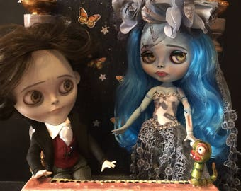 Custom Blythe Dolls For Sale by Emily and Victor Blythe, OOAK Diorama in adoption