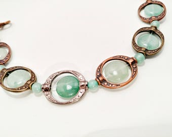 Jade and Brass Bracelet - For Her - Gift
