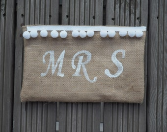 Personalised bag with Pom Poms. Wedding gift for Bride, Bridesmaid, Mrs, Bride to Be.