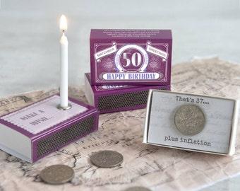 Happy 50th Birthday Greeting In A Matchbox - 50th Birthday Gift - 50th Birthday Card - Sixpence - Birthday Candle