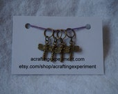 Four Dragonfly Stitch Markers for knitting, 10 mm ring, summer themed, insect