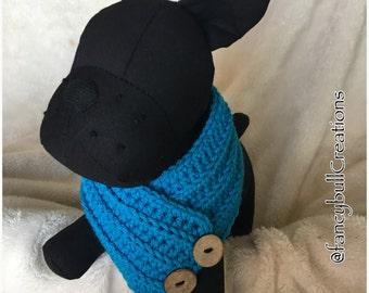 French Bulldog Pug Boston Terrier Puggle Medium Puppy Dog Breed handmade crochet Neck Warmer Button Scarf Bufanda