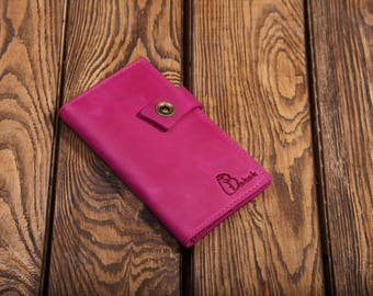 Leather wallet, Pink wallet, Fuchsia wallet, Leather purse, Handmade purse, Pink purse, Leather pouch, Leather case, Cell phone case