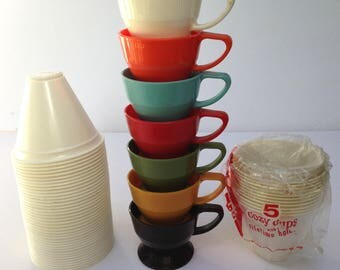 18 Mid Century Retro Solo Cup Holders and Refills / Lot of 18 Cup Holders and a Tall Stack of Refills / Perfect for Camping / Backyard BBQ's
