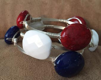 Wire wrapped bangles, Set of 3 stackable bangles, Red, White, and Blue  bangles, Patriotic bracelets.