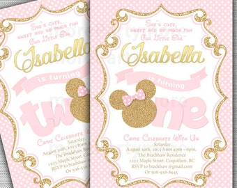 Pink and Gold Minnie Mouse First Birthday Party Invitation, 1st Birthday, 2nd Birthday, Gold Glitter, Polka Dot invite, Printable Invitation