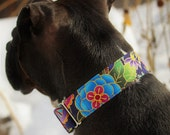 Colorful flower and mandala thick dog collar, wide martingale dog collar, extra wide dog collar, extra large dog collar, martingale for dogs