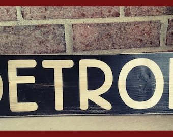 18 x 5 Retro Detroit wood sign