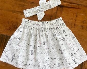 Girls Skirt Gift Set, Toddler Girls Clothing, Girls Twirling Skirt, Headband and Skirt Set, Girl Separates, Bunny Print, Girls Birthday Gift