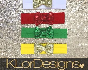 sequin bow headband, Baby girl headband, gold - red - green sequin bow headband