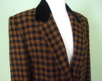 Vintage Laurèl Blazer / 80s / hounds tooth check / Longblazer /  size M