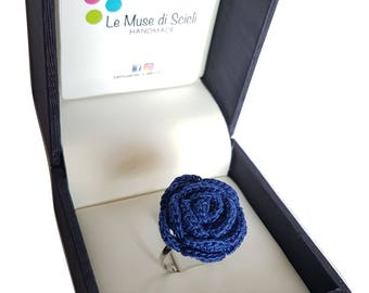 Electric blue rose ring