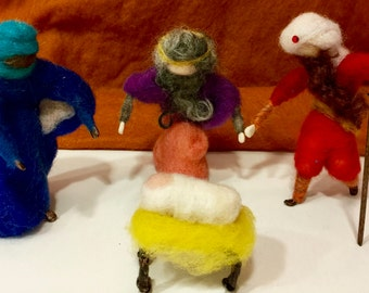 Needle felted three wise men, the three kings, magi, wool wise men, wool magi, wool kings, felted wise men, nativity felted,Waldorf nativity