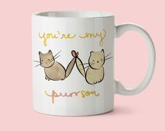 cute cat mug, best friend birthday gift, cat coffee mug, friendship mug, christmas gift for girlfriend, bff mug, bff gift, cute coffee cup
