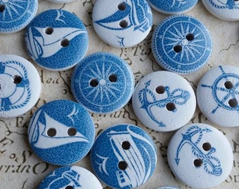 Wooden Buttons, Nautical Buttons, Boat Buttons, Sailing Buttons, Yacht Buttons, Ship Buttons, Sea Buttons, Sailboat Buttons, 15mm Buttons,